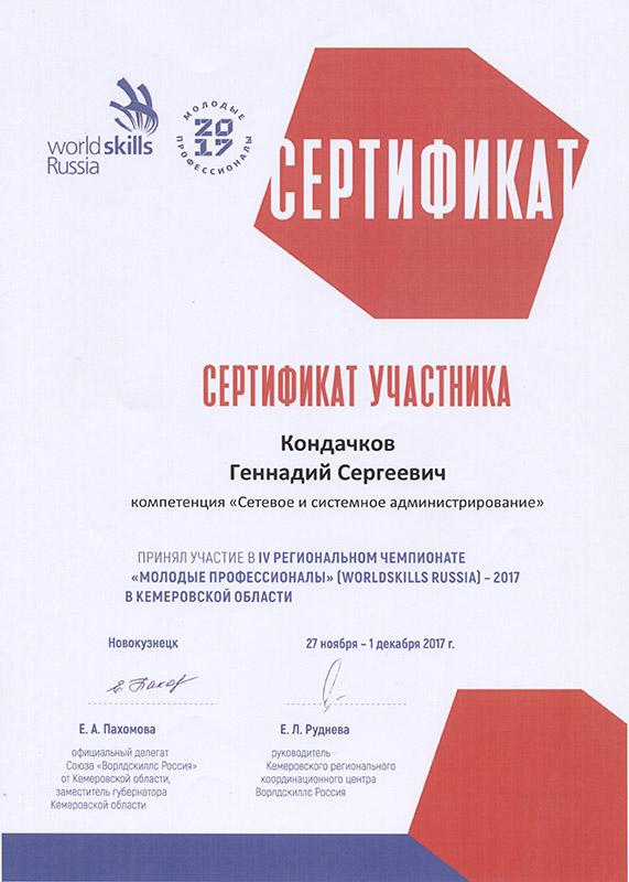 Молодые профессионалы 2017 Сертификат Кондачковё