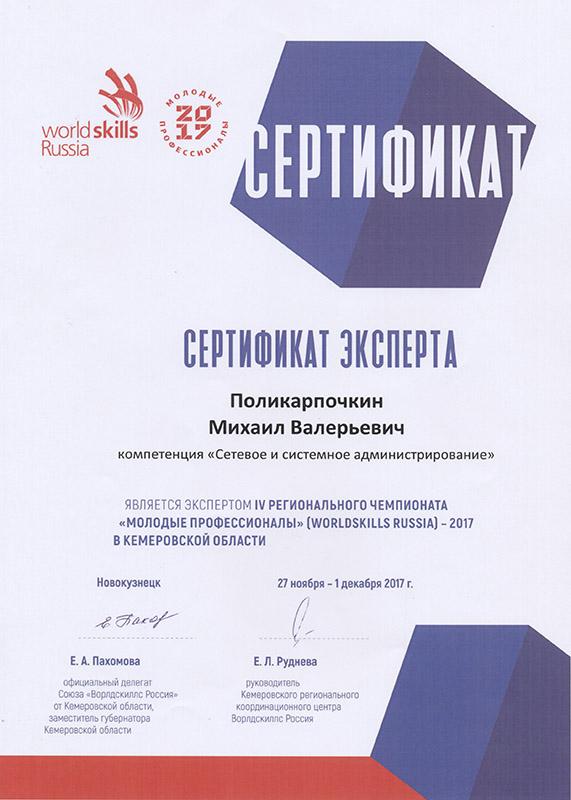 Молодые профессионалы 2017 Сертификат Поликарпочкин