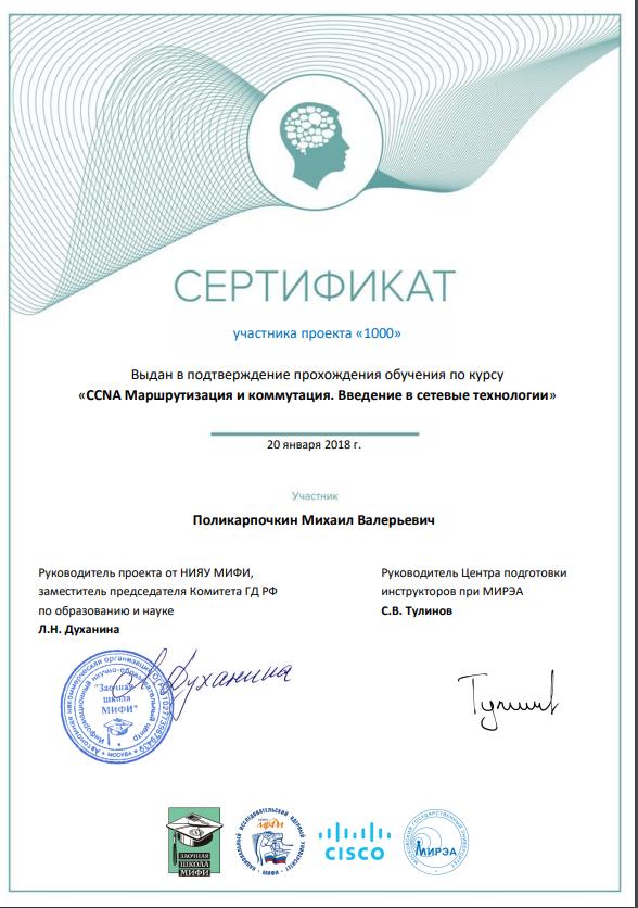 сертификат участника проекта 100